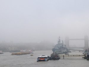 Tower Bridge clouded in fog