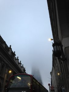 The Shard covered in fog